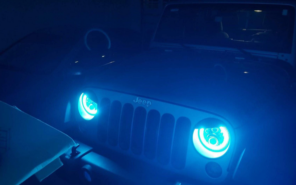 Halo LED Headlights Color Changing RGB for Jeep Wrangler (BLUE)