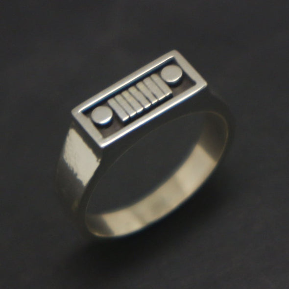 Silver Jeep Ring for Men