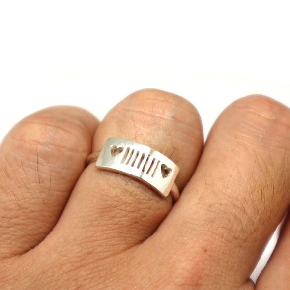 Sterling & Heart Silver Jeep Ring