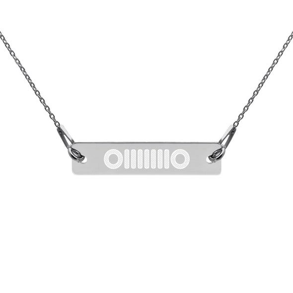 Jeep Engraved Silver Bar Chain Necklace Jeep Necklace