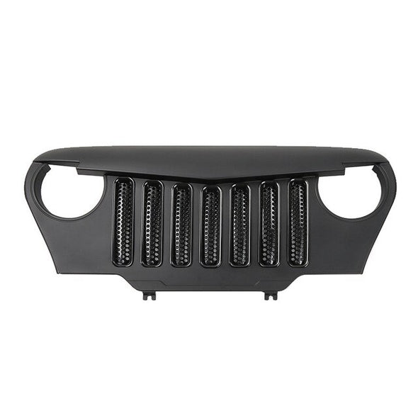 Angry Bird Grille Front Overlay Matte Black For Jeep Wrangler TJ 1997-2006