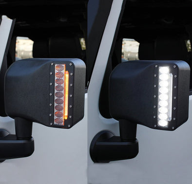 White Sidelight Rearview Side Mirror Housing w/Yellow Turn Signal Lights for Jeep Wrangler JK JKU 2007-2018