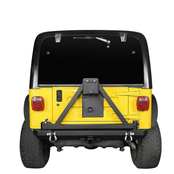 Steel Rear Bumper w/ Tire Carrier & D-Rings for 1997-2006 Jeep Wrangler TJ