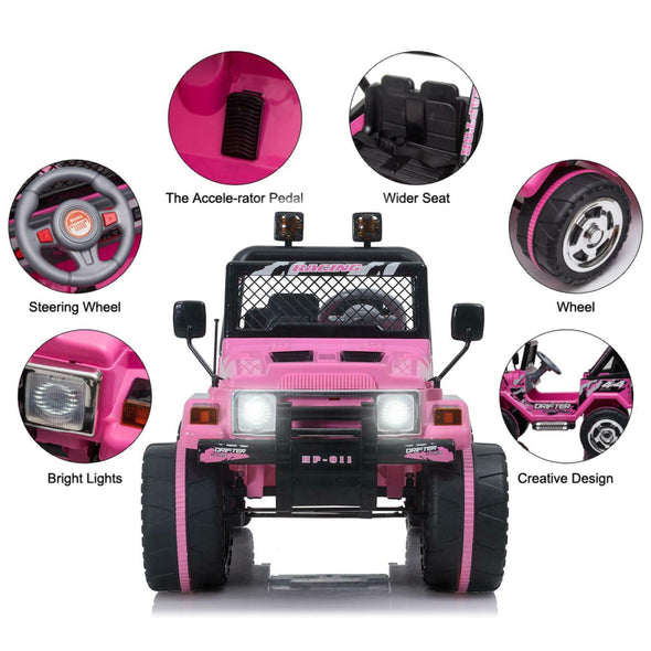 Electric Jeep for Kids Pink with Decoration