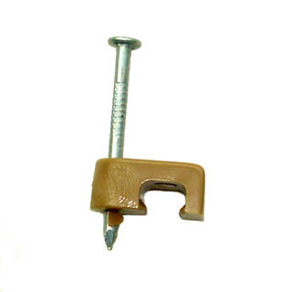 CABLE CLAMP TELEPHONE WITH NAIL 5MM BROWN