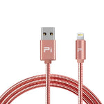 USB CABLE A MALE TO LIGHTNING 8P 3.3FT ROSE GOLD METAL FAST CHARG