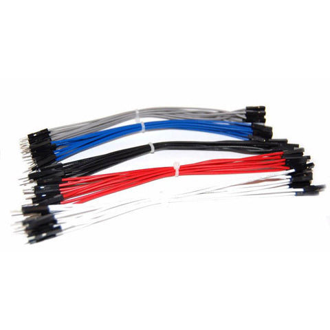 JUMPER WIRE MALE FEMALE 6IN 22AWG 50/PK RED BLK WHT GRY BLUE