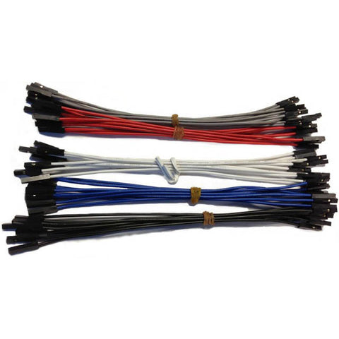 JUMPER WIRE FEMALE FEMALE 6IN 22AWG 50/PK RED BLK WHT GREY BLU