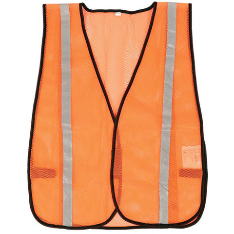 SAFETY VEST 1IN REFLECTIVE TAPE FLUORESCENT POLYESTER MESH ORNGE