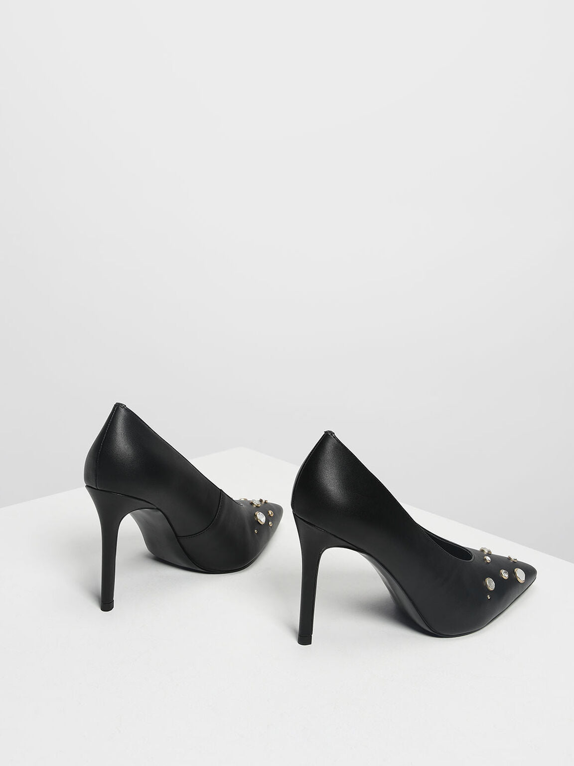 CHARLES & KEITH EMBELLISHED POINTED PUMPS