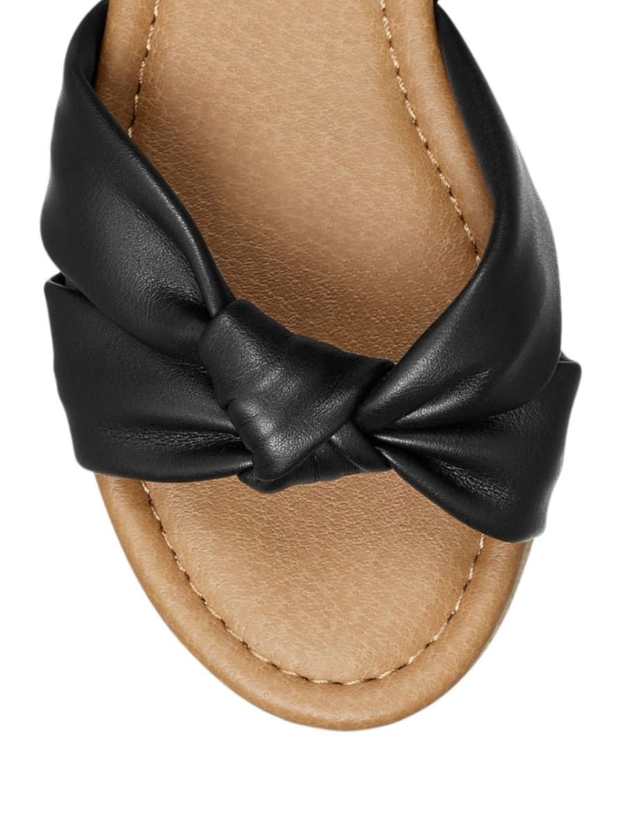 AEROSOLES BLACK DOVER KNOT DETAIL SLINGBACK SANDALS