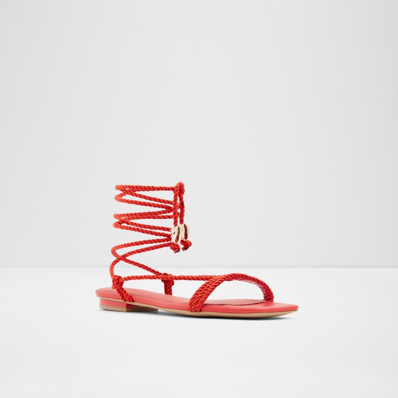 ALDO TWIST LACE SANDALS IN RED