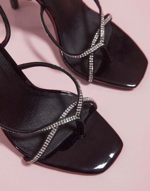 ASOS DESIGN LUXE NAVIGATE EMBELLISHED BARELY THERE HEELED SANDALS IN BLACK