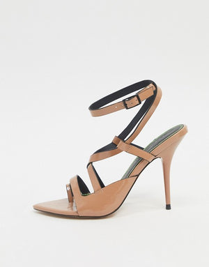 ASOS DESIGN NASH POINTED INSOLE HEELED SANDALS IN NUDE