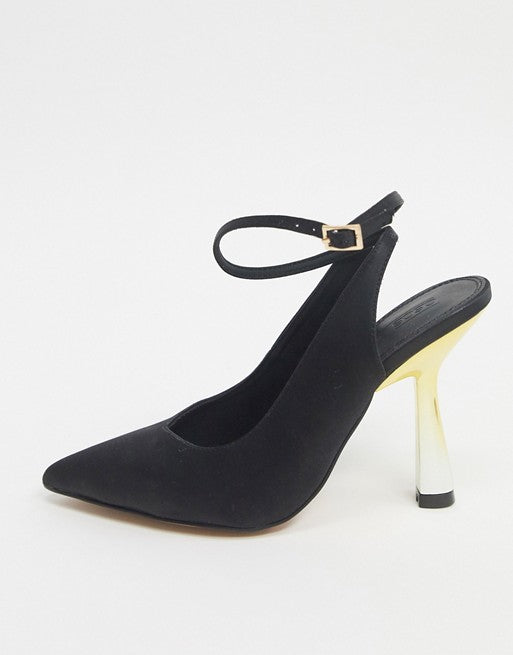 ASOS DESIGN PROTECTOR HIGH HEELED SHOE IN BLACK