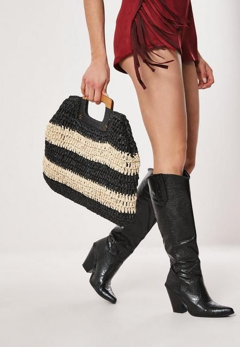 MISSGUIDED MONOCHROME RAFFIA STRIPED SQUARE HANDLE BAG
