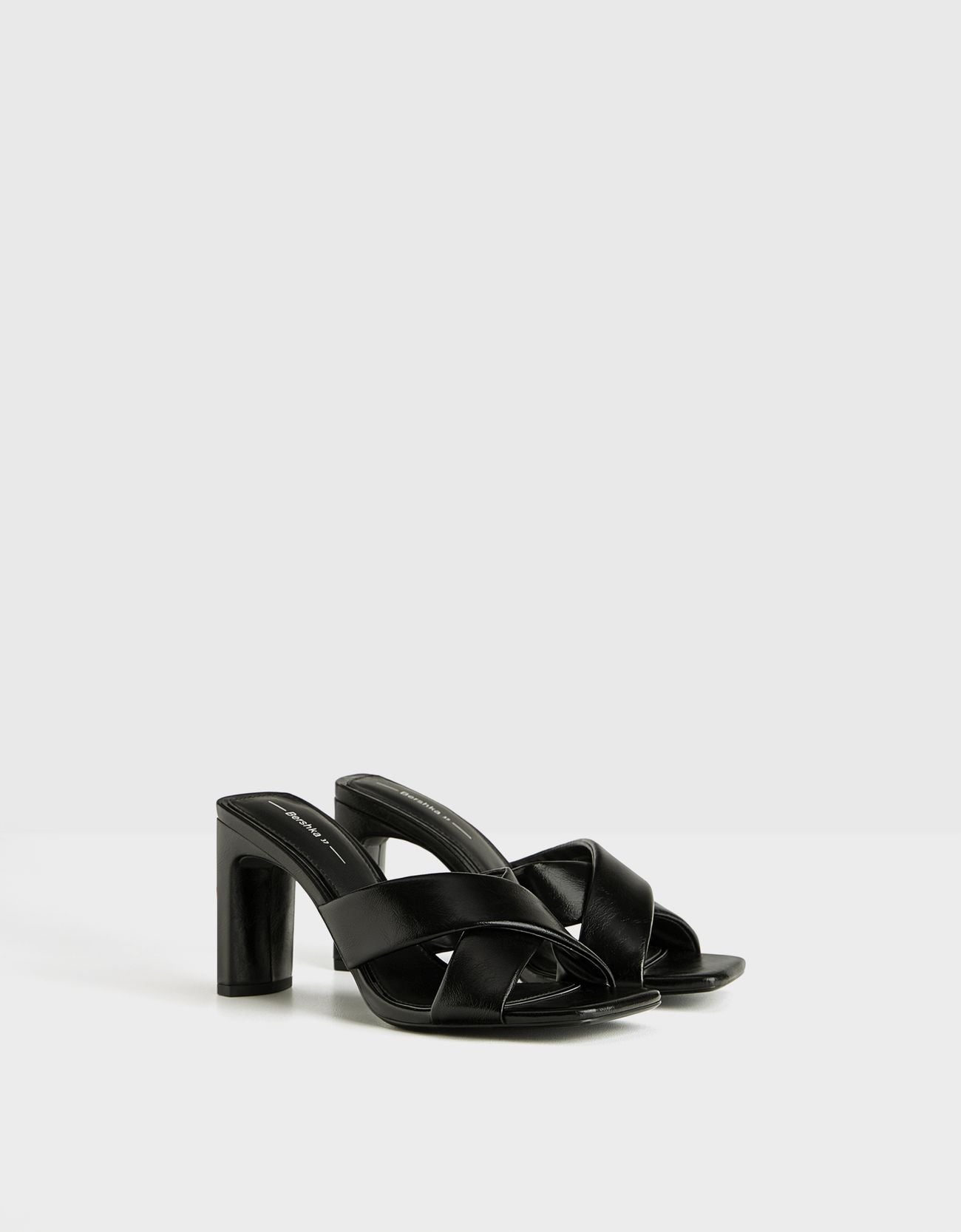BERSHKA BLACK  HEELED MULE WITH CROSSOVER STRAPS