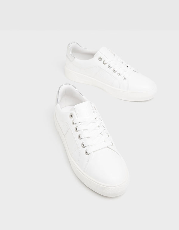 BERSHKA EMBOSSED TRAINERS WITH METALLIC HEEL