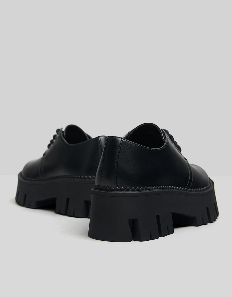BERSHKA FLAT PLATFORM SHOES WITH TRACK SOLES
