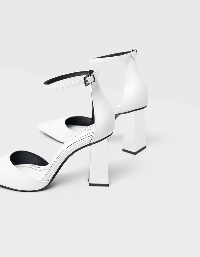 BERSHKA WHITE METALLIC HIGH-HEEL SHOES
