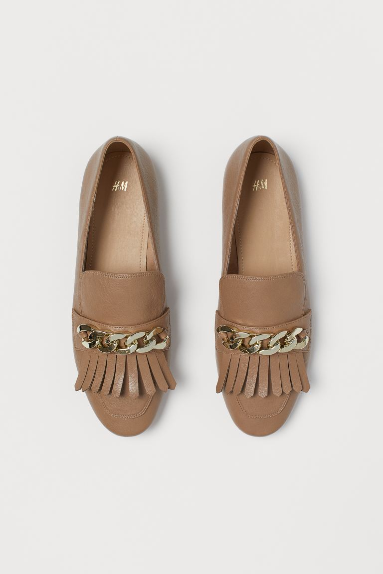 H AND M DARK BEIGE FRINGE GOLD DETAIL LOAFERS