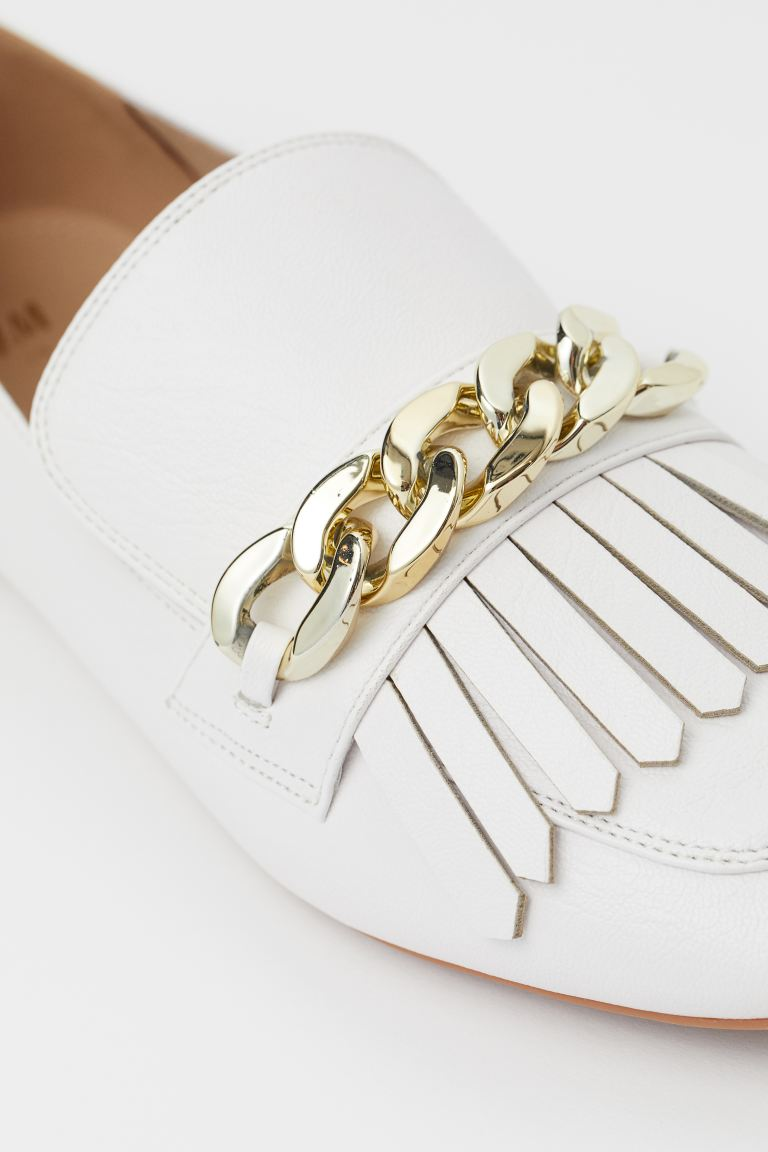 H AND M WHITE FRINGE GOLD DETAIL LOAFERS
