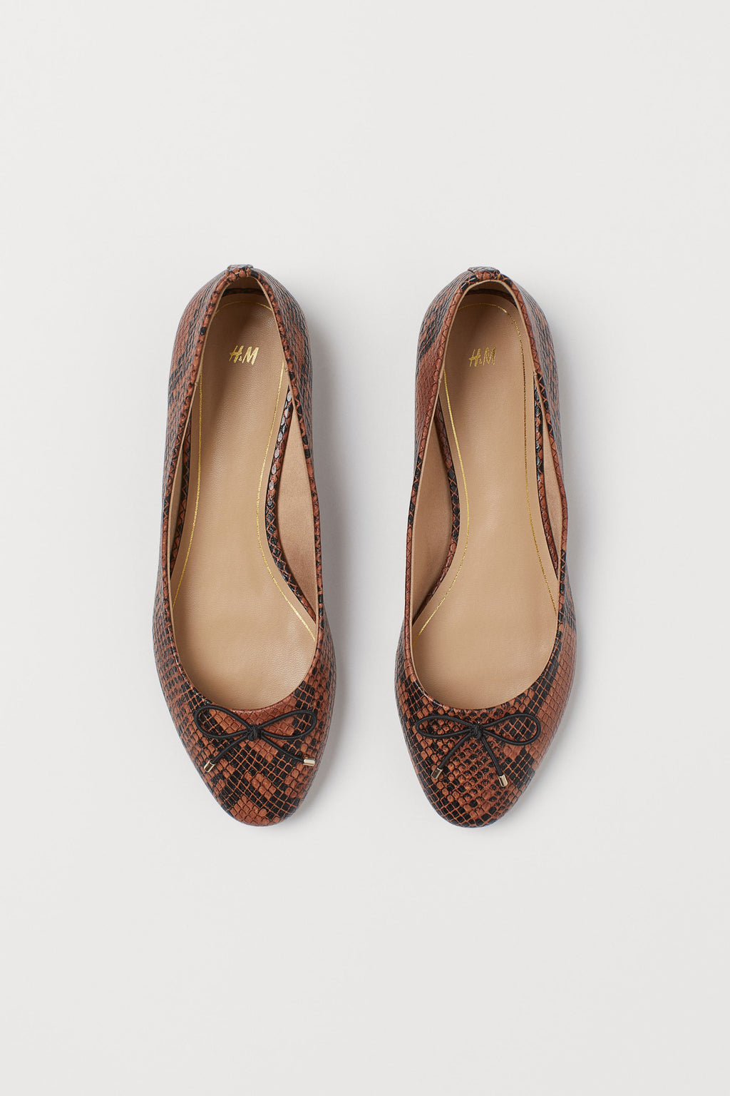 H & M BALLET PUMPS IN BROWN SNAKEPRINT