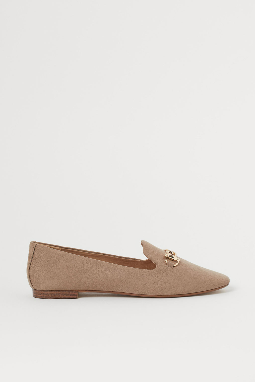 H & M BUCKLED LOAFERS IN GREIGE