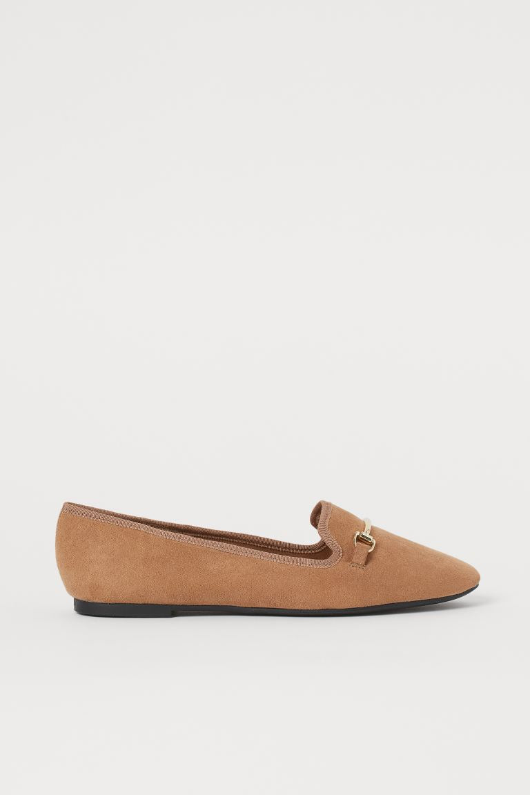 H & M METAL BUCKLE BALLET PUMP IN LIGHT BROWN