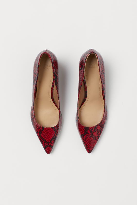 H & M RED SNAKEPRINT POINTED COURT SHOES 38