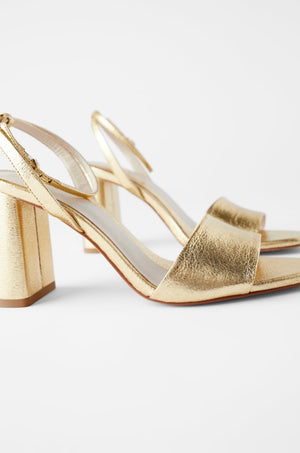 ZARA BLOCK HEEL SANDALS WITH ANKLE STRAP