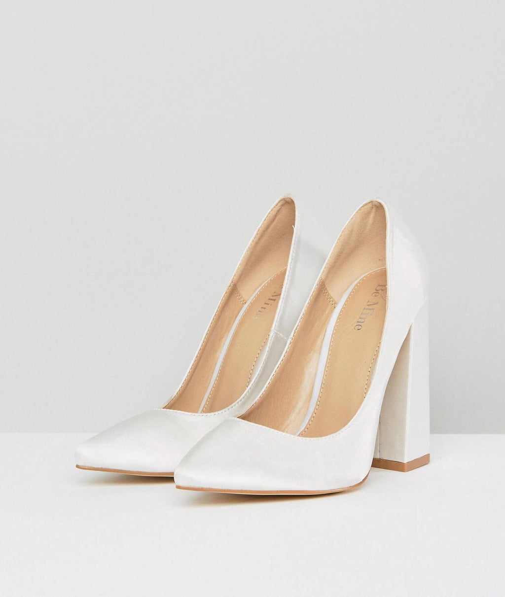 BE MINE IVORY BLOCK HEELS
