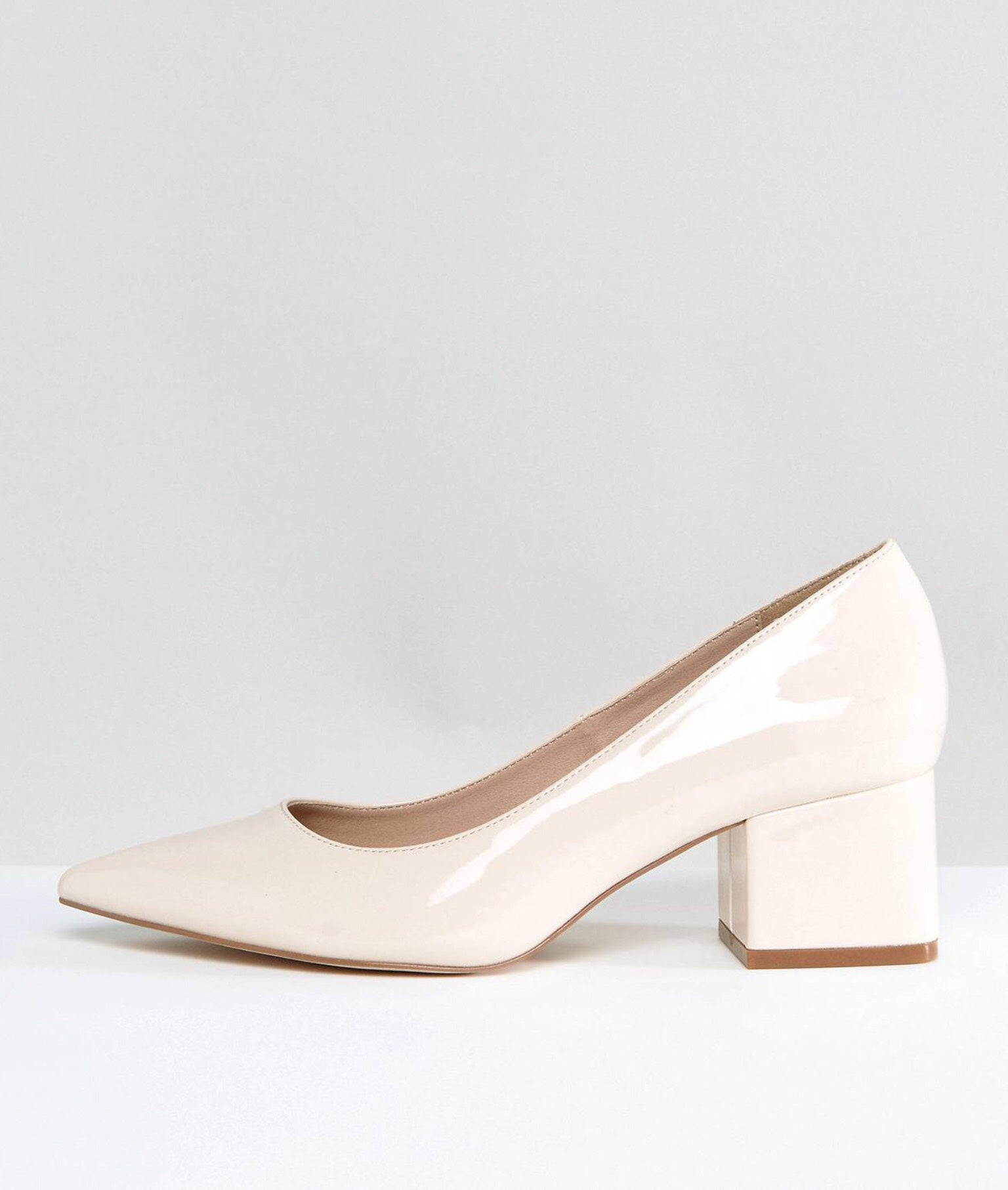 ASOS BIEGE PATENT LOW HEELS SHOES