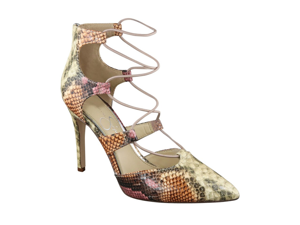 JESSICA SIMPSON MULTI SNAKEPRINT POINTED TOE LACE-UP PUMP