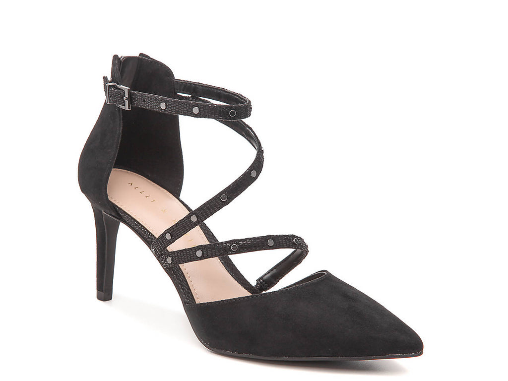 KELLY AND KATIE BLACK STRAPPY POINTED TOE PUMP