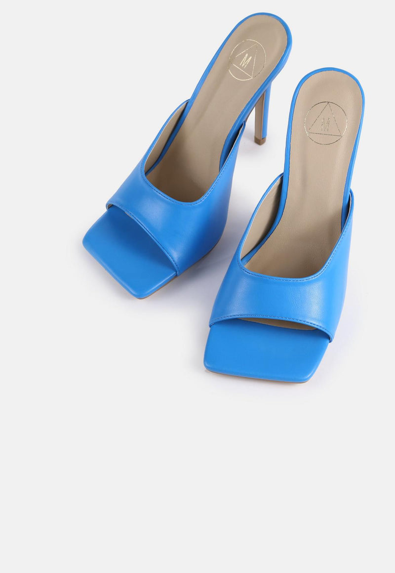 MISSGUIDED BLUE SQUARE TOE HIGH HEELED MULES