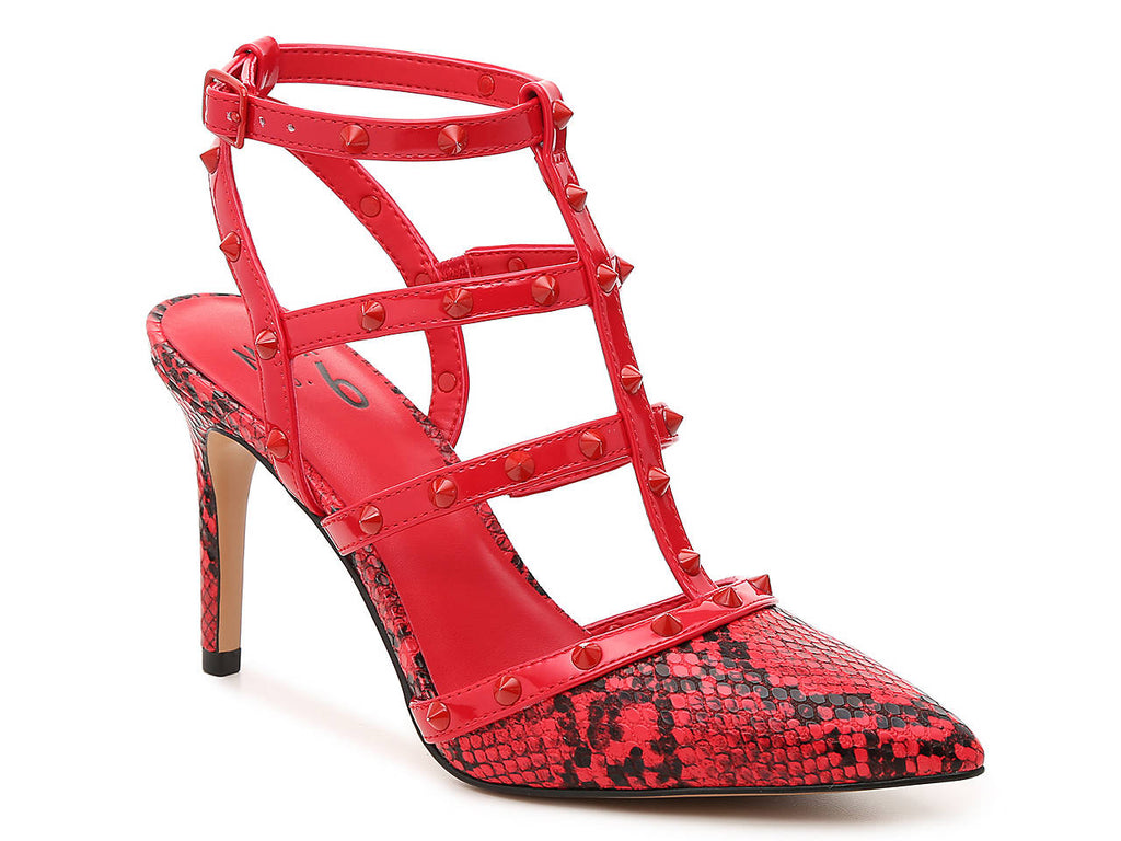 MIX NO 6 RED SNAKEPRINT POINTED TOE STRAPPY PUMP