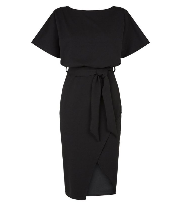 NEW LOOK BLACK BATWING BELTED MIDI DRESS
