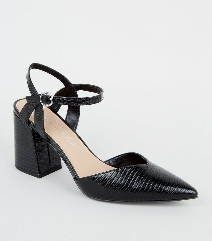 NEW LOOK BLACK FAUX SNAKE FLARED BLOCK HEEL COURT COURT SHOES