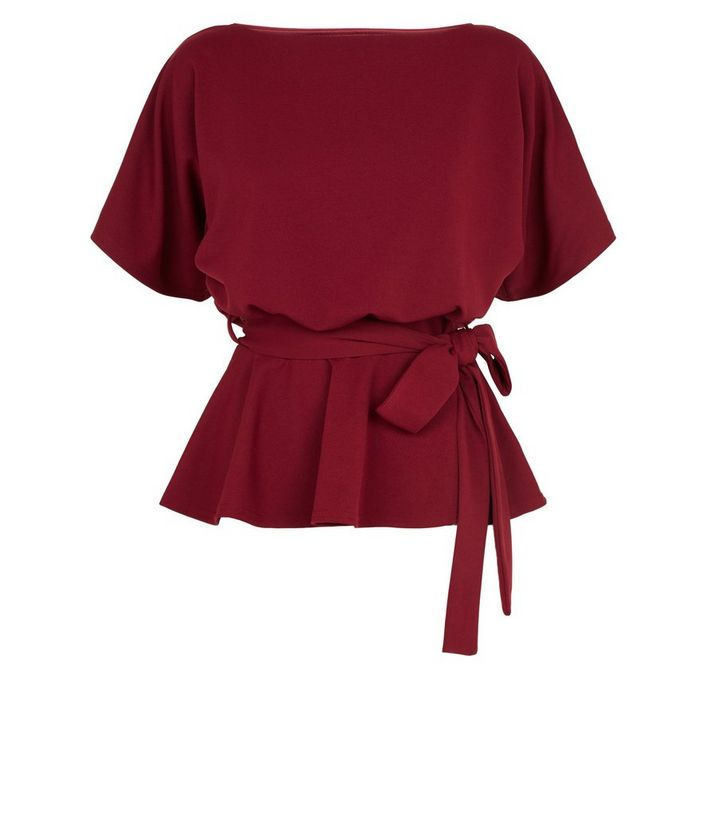 NEW LOOK BURGUNDY BELTED BATWING TOP