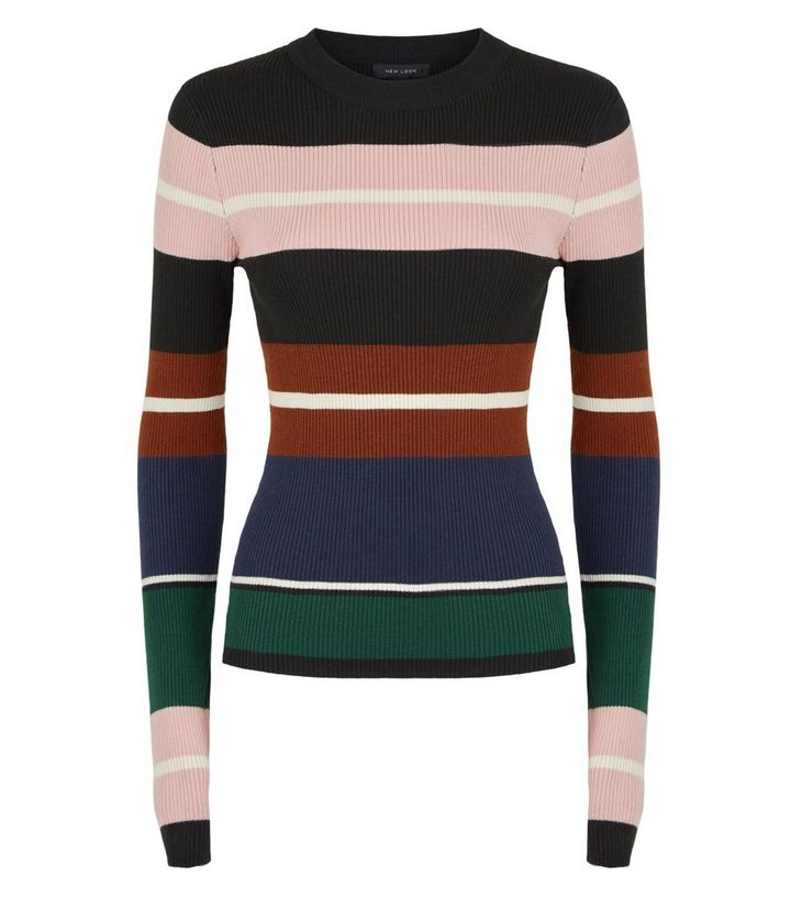 NEW LOOK CAMEO ROSE BLACK RIBBED STRIPE JUMPER