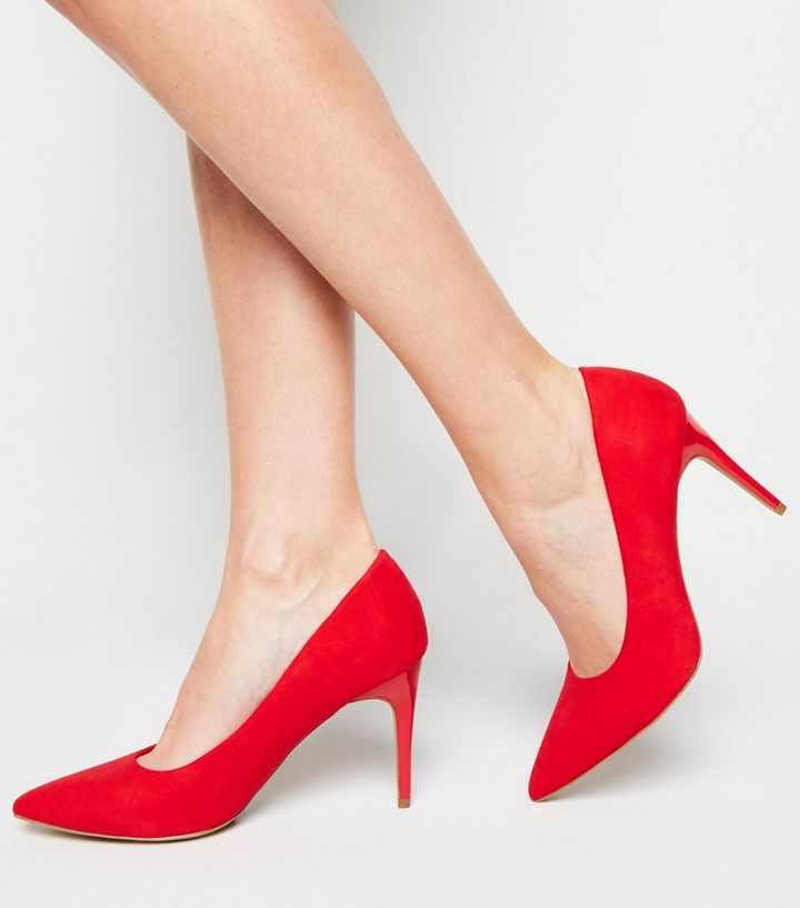 NEW LOOK RED SUEDETTE POINTED STILETTO COURT SHOES 40