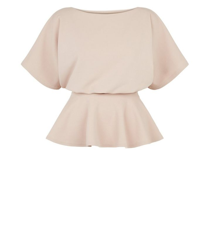 NEW LOOK STONE BELTED BATWING TOP