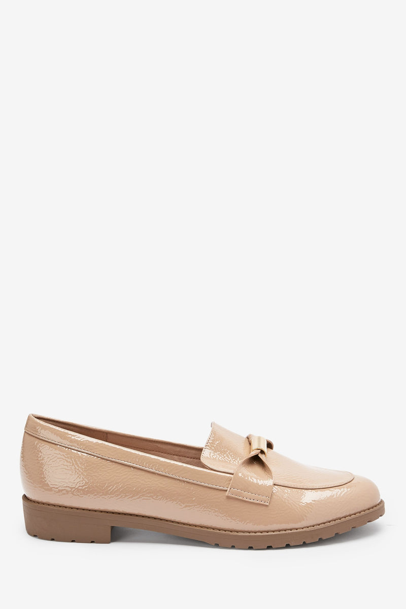 NEXT NUDE PATENT BOW DETAIL LOAFERS