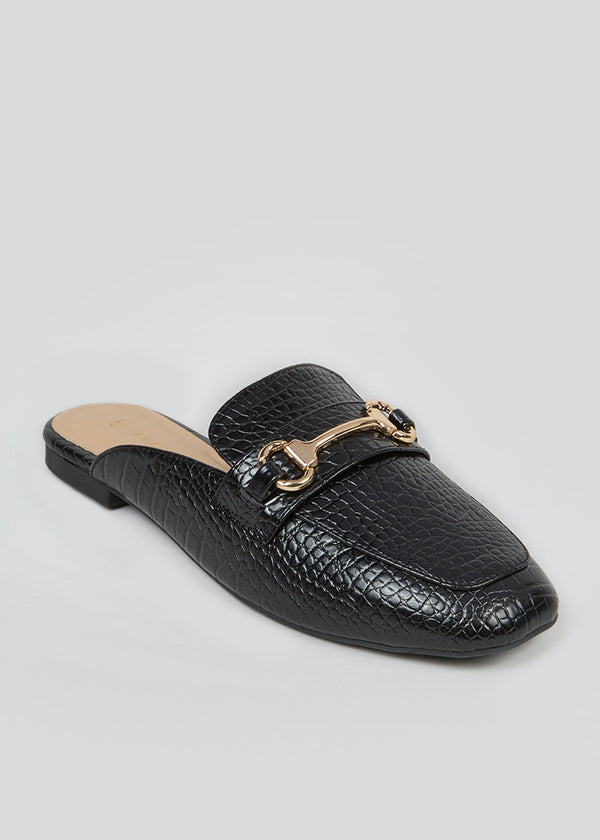 PAPAYA BLACK MOCK CROC MULE LOAFERS