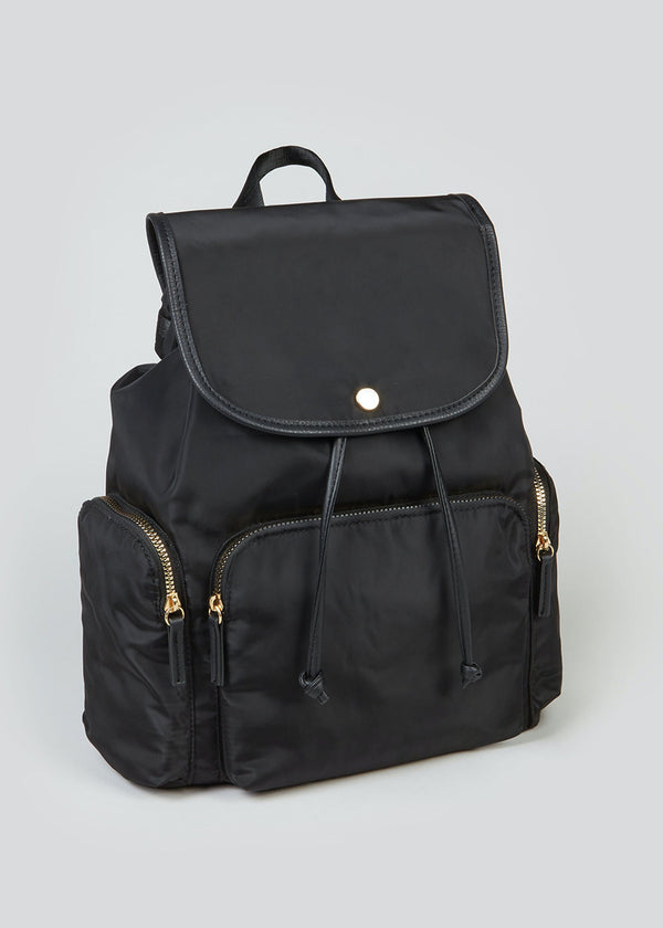 PAPAYA BLACK NYLON SIDE POCKET BACKPACK