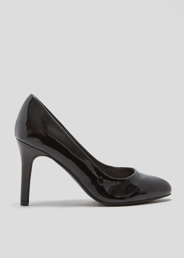 PAPAYA BLACK PATENT ROUND TOE COURT SHOES