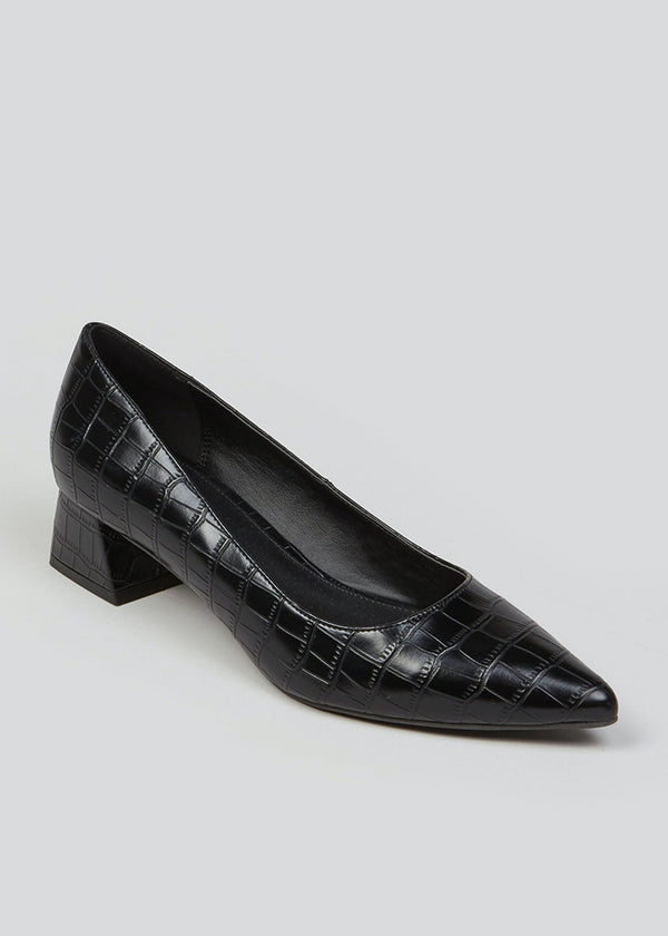 PAPAYA BLACK POINTED MOCK CROC POINTED HEELS
