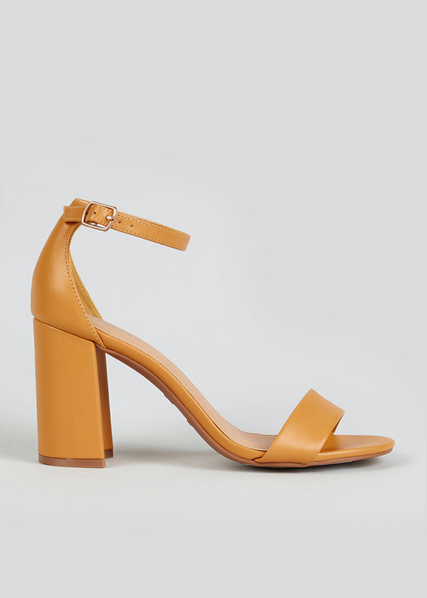 PAPAYA MUSTARD BLOCK HEEL STRAPPY SANDALS