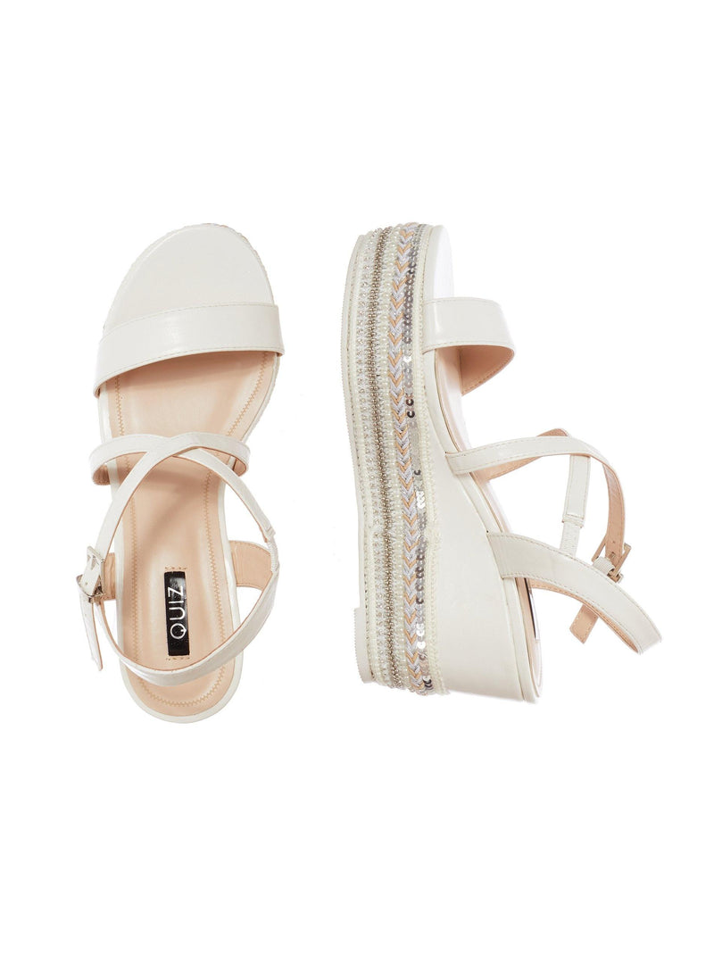QUIZ WHITE STRAP FLATFORM WEDGES